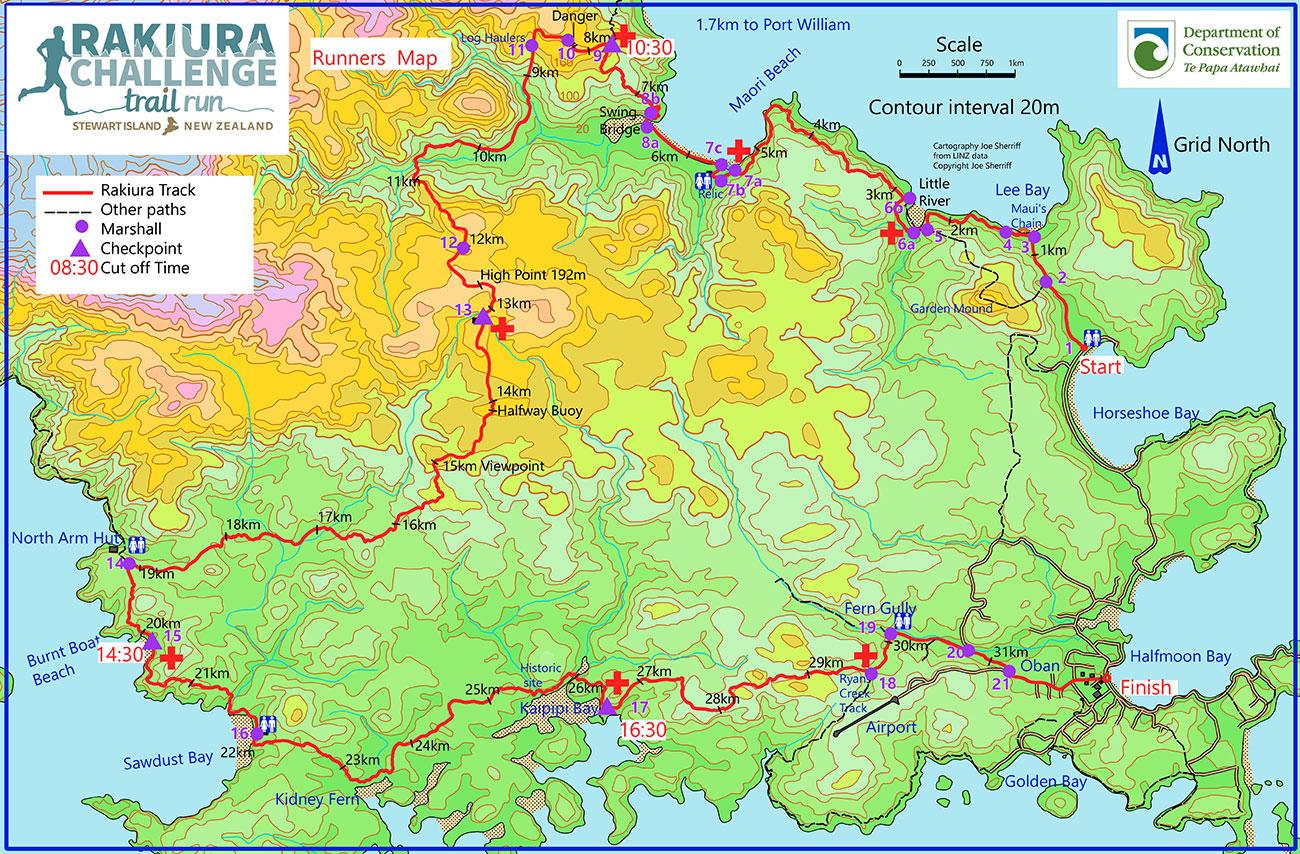 Rakiura Challenge Trail Run Course Map